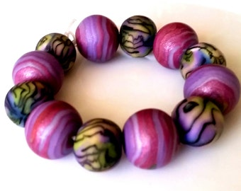 12 polymer clay beads violet, green floral pattern beads, Pearl, metallic