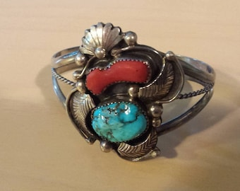 Turquoise & Coral sterling silver Navaho hand made Bracelet pre 70's very beautiful and unique