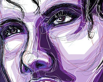 Woman's Face In Shades Of Purple - Digital Illustration - Mounted Satin Luster/Canvas Print