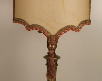 burnished brass lamp with parchment shade
