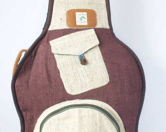 guitar bag gig bag case pure hemp backpack style organic leather natural burgundy