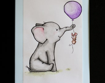 Peanut and Squeaks at Play -  The Balloon {Original Ink and Watercolor - NOT a print!}  {Elephant // Mouse // Balloon // Play // Nursery}