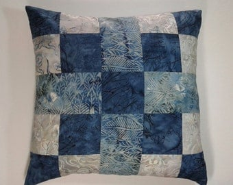 16 x 16 Batik Blues and Grays Accent Pillow Cover