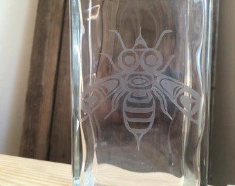Bee Etched Glass Bottle - Alaskan Native - Glass Bottle Art - Decorative Bee - Decorative Bottle - Bee Art