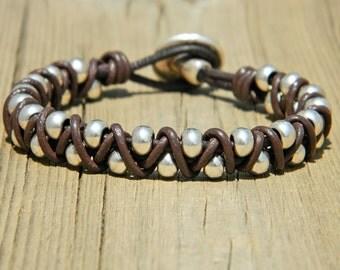 Wrap Boho bracelet,wrap bracelet,leather wrap bracelet,beaded wrap bracelet,leather bracelet, silver plated,beaded bracelet,PC018