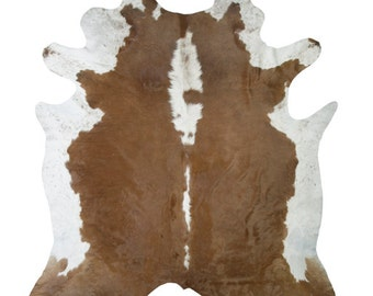 Brown and White  Cow Hide rug (Multiple Sizes)