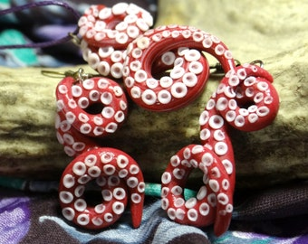 Tentacles jewelry set polymer clay