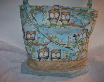 Owls /  Cottton quilted tote bag / aqua pastel / large tote with two pockets, one outside t103ao