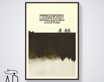 STRANGER THINGS Inspired Art Print Movie Poster, Graphic Design, Mid Century Modern, Sci fi, Vintage Style, Bicycles, Movie poster