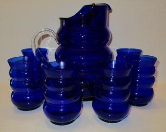 vintage louie glass co. harpo cobalt blue pitcher & tumblers set