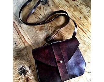 BROWN LEATHER CROSSBODY Bag Small Shoulder Purse Handmade