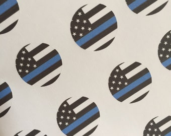Thin Blue Line circle stickers