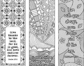 6 Bible Verse Coloring Bookmarks plus 3 designs with blank templates, Inspiring Scripture Bookmarks