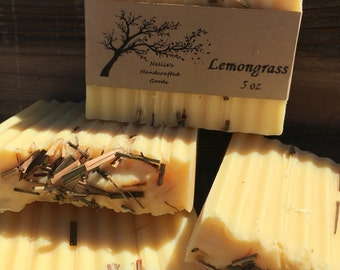 Lemongrass Homemade Soap Bar - Natural Skin Care - Sensitive Skin Moisturizing Soap - Cold Process Gift Ideas - Rustic - Citrus