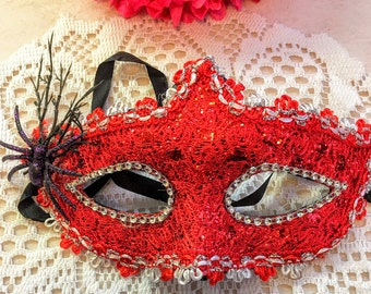 Red mask with Black Spider, rhinestone And Red Flower decoration