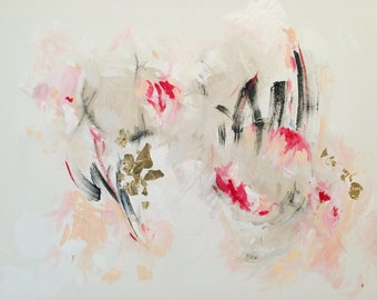 Original Art, Abstract Acrylic and Gold Leaf Painting