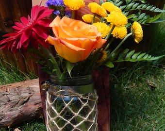 Fish Net Mason Jar Flower Vase