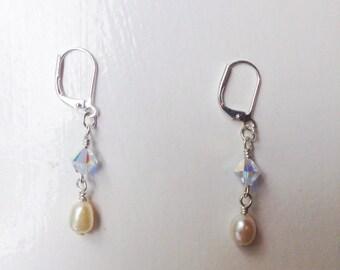 Swarovski and Pearls Earrings, Swarovski Earrings, Pearl Earrings, Elegant Earrings