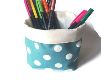Small turquois polka-dotted fabric basket, organizer, fabric storage box