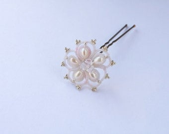 Flower hair pin - floral bobby pin - lace and pearly beads freshwater peals - large hair clip for wedding hair accessory headpiece bride