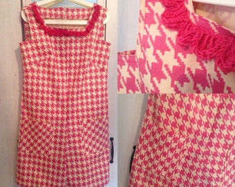1960s Dogtooth Playsuit with Hand Crochetted Neckline