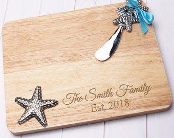 Starfish Engraved Cheese /Cutting Board Set