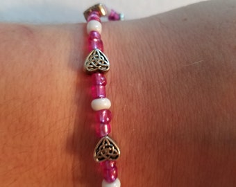 Hot Pink Celtic Heart Bracelet