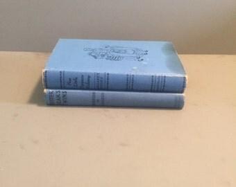 Vintage Books, Vintage blue books, set of 2 decorative hardback blue books, vintage wedding decor, vintage wedding books