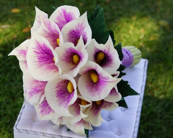 Custom Made Brial Bouquet or bridesmaid bouquet, Paper flower bouquet, Purple Calla Lilies - Alternative Wedding Flowers