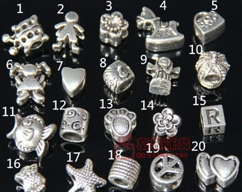 40pcs 9*14mm around mixed silver large hole  beads DC02