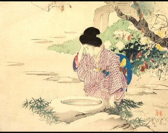 Japanese Woman - Japanese Beauty Vintage Print - Japanese Garden Print - Japanese Vintage - Woodblock Print - Ukiyo-e - Digital Download