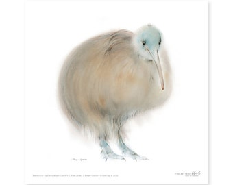 Australian kiwi fine art print, watercolor, 8,3 x 8,3 inch, limited edition, painted by Klaus Meyer-Gasters