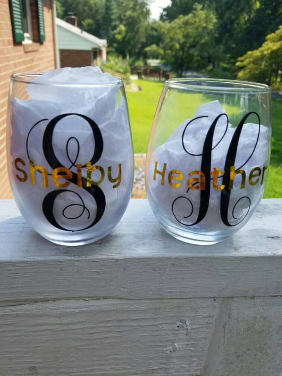 Customizable Monogrammed Stemless Wine Glasses - gift or present