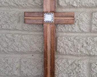 Wood wall cross, Free Shipping, decorative cross, handcrafted crosses, maple wood cross, wall cross decor,