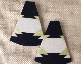 Handmade Fabric Stud Earrings - Trianglesque (see images for different fabrics)
