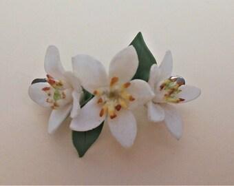 Hair pin orange blossom - pin hair - Accessories - Accessories - Orange blossom - pin flowers - white pin - porcelain pin