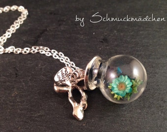 Necklace turquoise flowers silver long