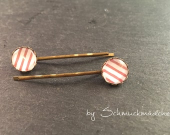 Hair clips bronze stripe red