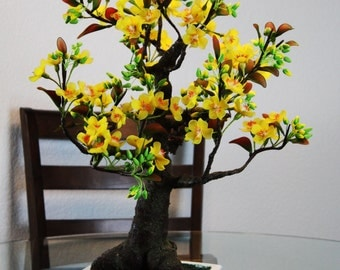 Yellow Apricot Blossom Bonsai Tree Handmade Flowering Japanese Cherry Blossoms
