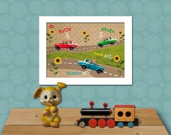"KIDS ROOM RETRO A3 poster print/Cars/A3 (42 x 29.7 cm//16.5 ""x 11.7"")//mixed media-wall art-kids-retro-car-kids"