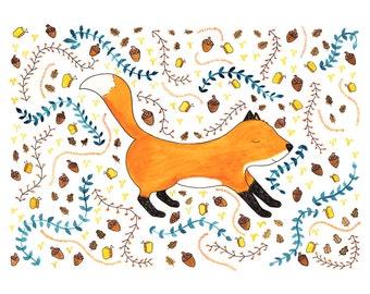 Woodland Fox Pattern Print, woodland room art, children's print