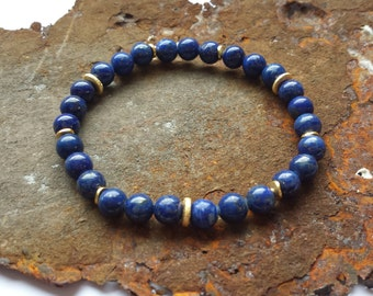 Lapis bracelet with gold elements in gilded 925 silver