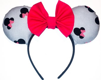 Grey and Red Minnie Ears