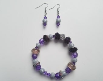 Acrylic Beaded Bracelet and Earring Set