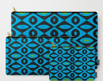 Black and Blue with Green -Carry All Zipper Pouch -Set of 3