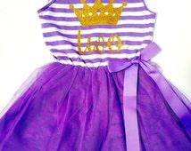 Purple BIRTHDAY TUTU DRESS Striped 2nd 3rd 4th 5th Party Cake Smash Stripy Girls Toddler Dress Gold Glitter Tiara Crown Two Three Four Five