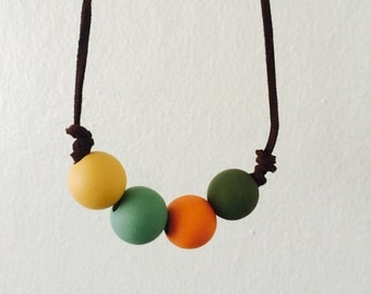 Wood Bead and Leather Necklace
