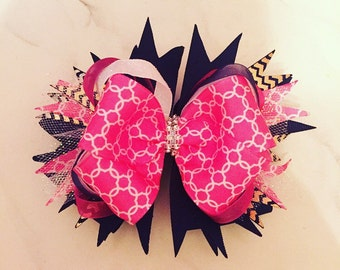 Navy and pink baby bow