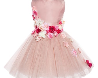 Ross Unique Luxury Flower Pink Full Length Tulle Dress with hand-sewn Flowers and beads.