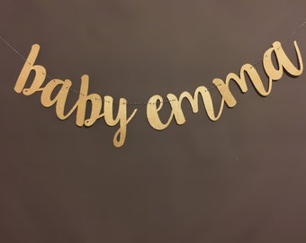 Custom Banner, Baby Shower Banners,  Baby Shower Decor, Gold Glitter, Modern Baby Shower, Pregnancy Banner, Baby Announcement